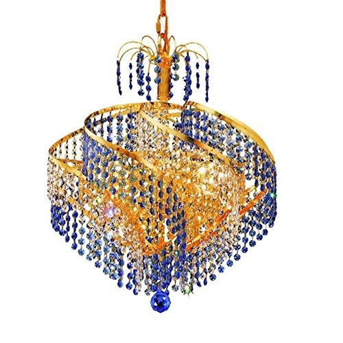 Elegant Lighting 8053D18G/SS Spiral Collection 8-Light Hanging Fixture with Swarovski Strass/Elements Crystals, Gold Finish ()