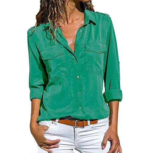 Tinta Firally Petto camicetta Pullover Unita A Con Risvolto Modo Di top Casuale Lunghe Donna Sul Verde Maniche camicia Camicia r0rqxfp
