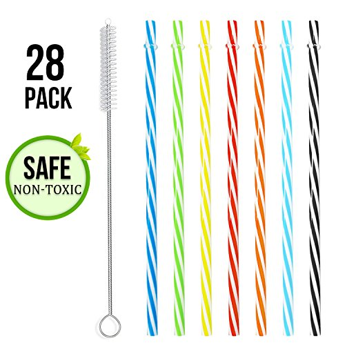 28 PCS Reusable Plastic Straws Set, BPA Free Colorful Thick Plastic Drinking Straw Kit, for Party Family Use with Cleaning Brush