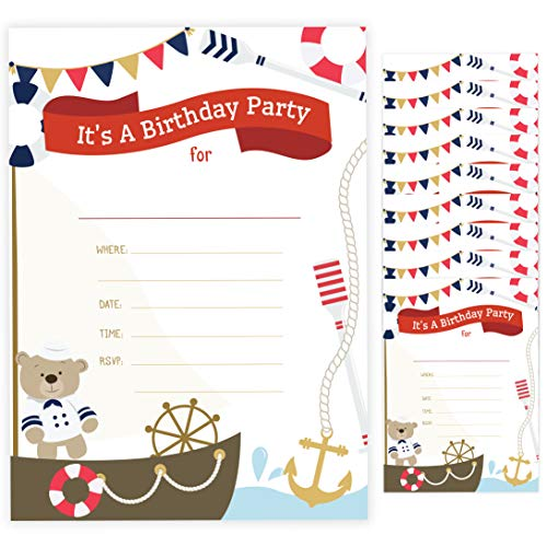 Nautical 2 Happy Birthday Invitations Invite Cards (10 Count) With Envelopes Boys Girls Kids Party (10ct)]()