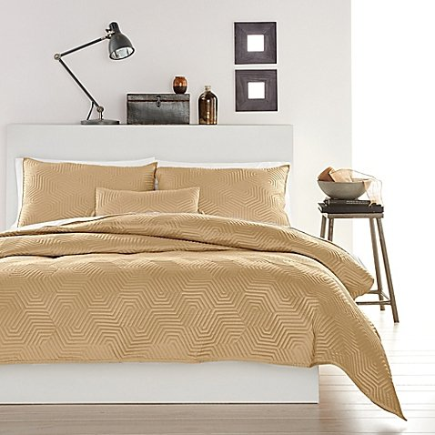 DKNY Helix Gold Full/Queen Duvet Cover & Sham Set