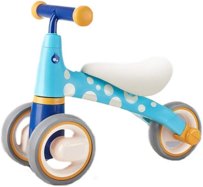 XIAOME Bicicletas de Equilibrio del bebé Sin Pedal,Juguetes para Montar 1-3 años Edad Micro Mini Patinetes Infantil EVA 3 Ruedas Bicicleta niño Walker-Azul