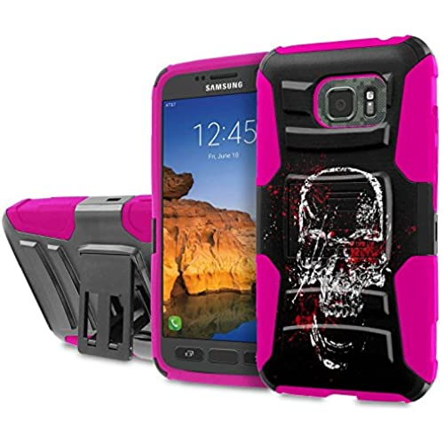 AT&T [Galaxy S7 Active] [5.2 Screen] Armor Case [SlickCandy] [Black/ Hot Pink] Heavy Duty Defender [Holster] [Kick Stand] Phone Case - [splatter Skull] for Sales