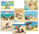 Beach Christmas Card Variety Pack - 24 Cards & Envelopes - 8 Designs, 3 Cards Per Design - Assortment #1