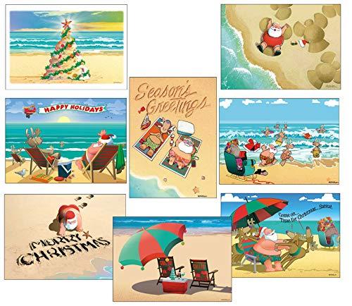 Beach Christmas Card Variety Pack - 24 Cards & Envelopes - 8 Designs, 3 Cards Per Design - Assortment -