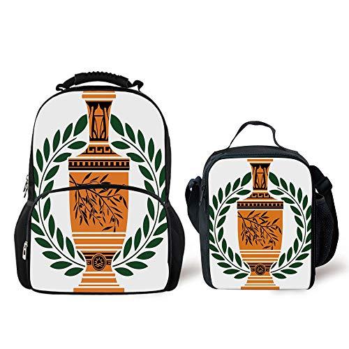 Geometric Greek Vases - iPrint Schoolbags Lunch Bag,Toga Party,Old Antique Greek Vase Olive Branch Motif Laurel Wreath,Hunter Green Orange Black,Personality Pattern