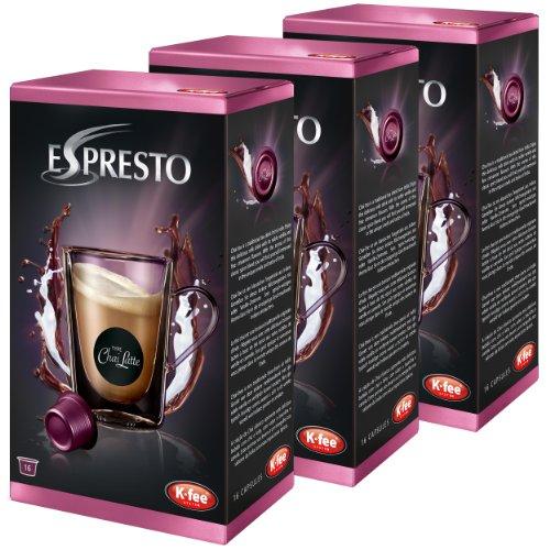 K-Fee Espresto Chai Latte, Gewürztee, Milchtee, Tee, Vanille / Zimt, 3er Pack, 3 x 16 Kapseln