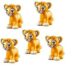 LEGO 5 pcs Friends BRIGHT LIGHT ORANGE TIGER Lion cub Jungle Animal Minifigure