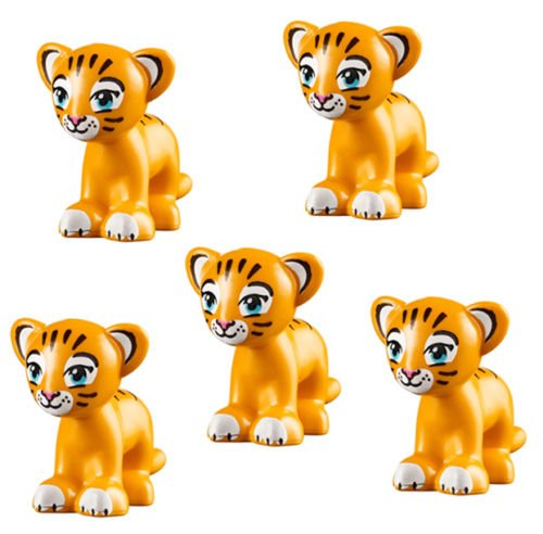 LEGO 5 pcs Friends BRIGHT LIGHT ORANGE TIGER Lion cub Jungle Animal Minifigure
