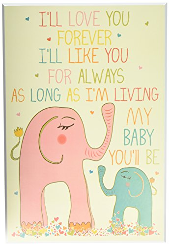 The Kids Room by Stupell Elephants Art Wall Plaque, I'll Love You Forever, 11 x 0.5 x 15, Proudly Made in USA - Kid Art Elephant