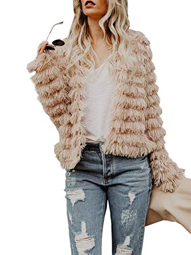 Womens Open Front Faux Fur Cardigan Vintage Parka Shaggy Jacket Coat Coffee