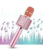 1 BY ONE Microfono Wireless per Karaoke, Sistema Portatile 4 in 1, Riproduzione Musica Wireless 4.2 per Smartphone Android, iOS e PC, Karaoke Portatile per Party in Casa o all'Aperto (Rosa)