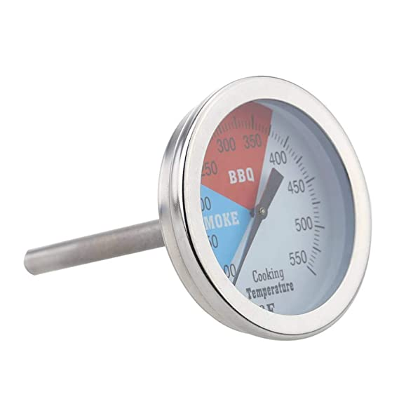 """Gauge BBQ Thermometer Charcoal Wood Large 2.5/"""" stem stainless steel Practical"""