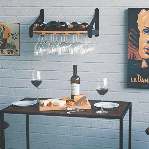 Rustic State Wall Mounted Wood Wine or Liquor Bottle Storage Holders | Stemware Racks Organizer (Natural)