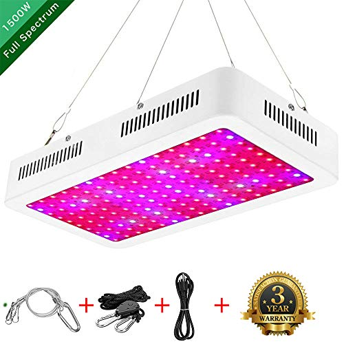 ZXMEAN 1500w Grow Light Indoor Garden Basement Plant Light Plants Growing Lamp Full Spectrum (10W LED) Double Chips Contain UV&IR for Professional Greenhouse Hydroponic with Adjustable Hanger Rope