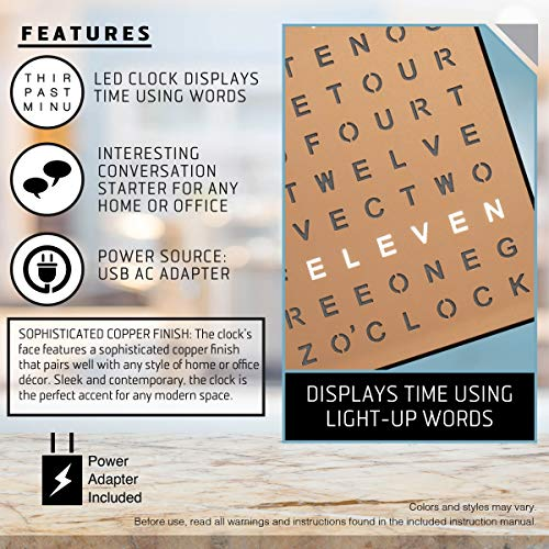 Sharper Image Light Up Electronic Word Clock, Copper Finish with LED Light Display, USB Cord and Power Adapter, 7.75in… 3