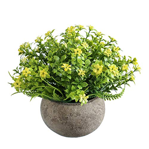 Topiary Artificial Flowers Potted Small Fake Flowers with Pot for Decoration Farmhouse Apartment Bathroom Dining Table Centerpieces Office Bookshelf Decorations(Light Yellow)