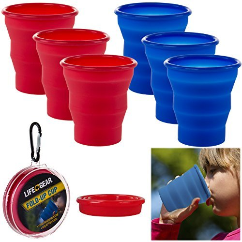 Life Gear 6 Pack 8oz Collapsible Silicone Cups & Belt Clips Travel Camping Red Blue by Life Gear