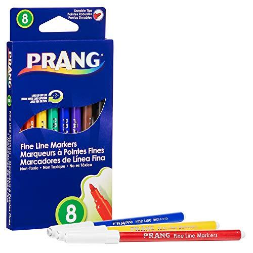 PRANG Fine Line Art Markers, Washable, 2.75mm Fine Tip, 8-Color Set (80719)