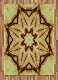 Mandala Area Rug by Ambesonne, Trippy Ethnic Thai Mandala Motif with Dirty Grunge Smear and Rough Stains Art, Flat Woven Accent Rug for Living Room Bedroom Dining Room, 5.2 x 7.5 FT, Mustard Brown