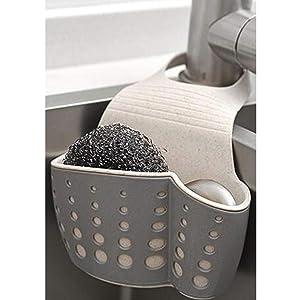 TuuTyss Wheat Straw Hanging Ajustable Strap Sponge Holder Sink Caddy for Kitchen,Grey
