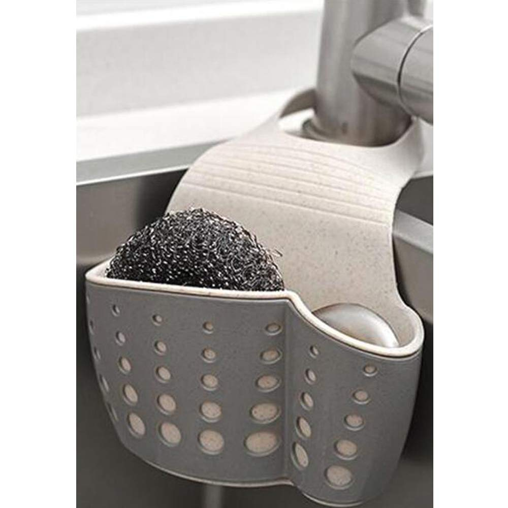 TuuTyss Wheat Straw Hanging Ajustable Strap Sponge Holder Sink Caddy for Kitchen,Grey