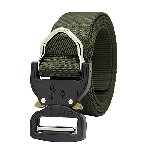 GRULLIN MOLLE Tactical Rigger D-Ring Waist Belt Clip Compact Rappel Universal CQB Military Web Nylon Sport 1.5inch Metal Buckle Mens EDC Kit Operator BDU Band (Army Green)