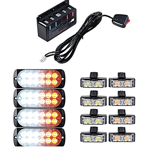 Set Amber White Ultra Slim 12-LED 36W Emergency Hazard Caution Surface Mount Strobe Light with 8pcs Car Truck Grille Deck Dash Flashing Light