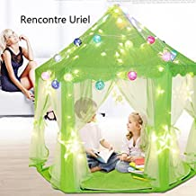 Hexagon Princess Castle Kids Play Tent, Portable Play Tent For Girls, Indoor and Outdoor Kids Children Playhouse by Rencontre Uriel (green)