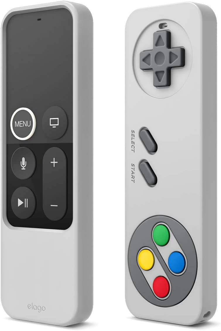 elago R4 Retro Apple TV Remote Case Compatible with Apple TV Siri Remote 4K 5th / 4th Generation - Classic Controller Design [Non-Functional], Extra Protection, Lanyard Included (Light Grey)