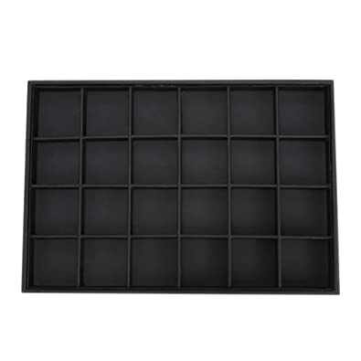 Buy Rrimin 24 Grids Jewelry Organizer Display Case PU Velvet Tray