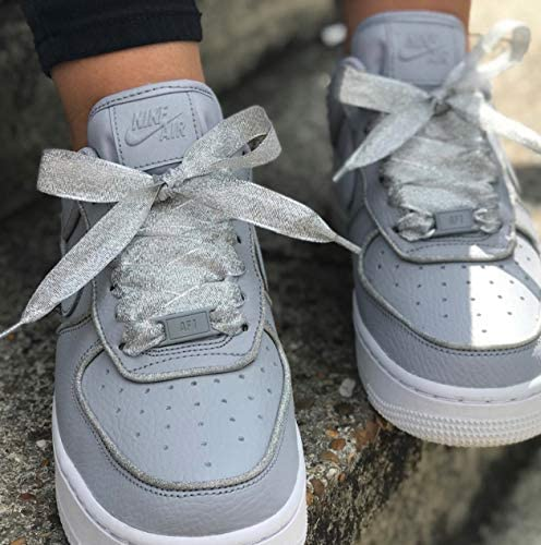 Sparkly Glitter Silver Ribbon Shoelaces