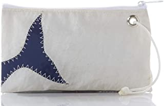 """product image for Sea Bags Recycled Sail Cloth Navy Whale Tail Wristlet - Zip Top Wristlet - Recycled Sail Cloth Wristlet - Nautical Wristlet - 8"""" l x 1"""" w 5"""" h"""