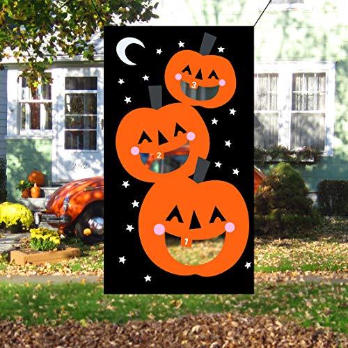 JINSEY Halloween Pumpkin Bean Bag Toss Games with 3 Bean Bags, Halloween Games for Kids Party -