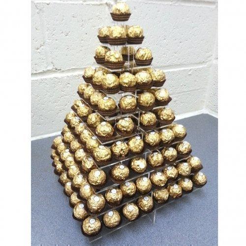 Ständer Ferrero Rocher Süßigkeiten quadratisch Präsentationsständer 3 Größen - Acryl, Gold, 10 Lagen