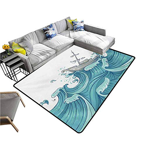 - Anti-Slip Coffee Table Floor Mats Nautical,Ship Being Tossed by Giant Ocean Waves Aquatic Old Vessel Sea Journey Illustration,Aqua Taupe 60