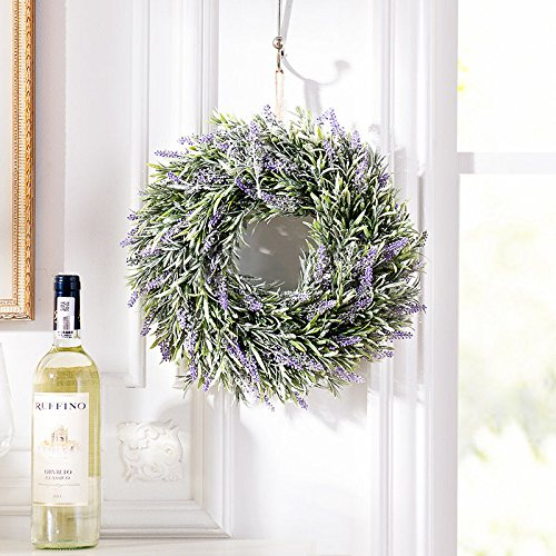 Lingstar Lavender Flower Floral Wreath Hanging Wall Window