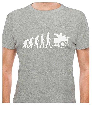 5f3f04760e Tstars - Funny Drums Humor Gift Idea - Drummer Evolution T-Shirt Large Gray