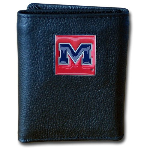 Siskiyou NCAA Mississippi Old Miss Rebels Deluxe Leather Tri-fold Wallet