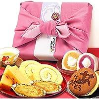 敬老の日 ギフト プレゼント 人気スイーツギフトセット 竹籠入り風呂敷包 (ピンク色風呂敷)