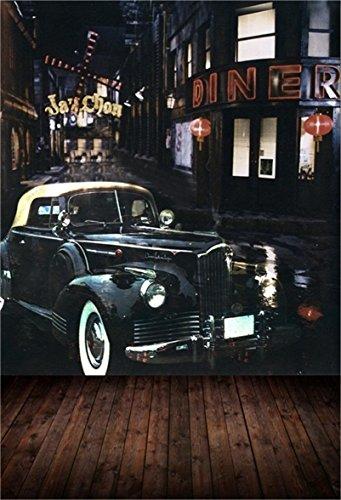AOFOTO 5x7ft Vintage Street Corner Background Retro Car Photography Backdrop Nostalgia Urban Buildings Boy Adult Lovers Girl Man Portrait City Nightscape Photo Studio Props Video Wallpaper from AOFOTO
