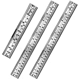 Gimars 3 Pcs Nonslip Unique Measure on Both Ends Design 6 +12 inch Stainless Steel Metal Ruler Kit, Easy to Read Inch&mm&cm Directly, More Polished Edge for School, Office, Architect, Engineers, Craft