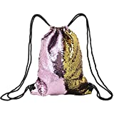 Cheap Gazigo Reversible Sequin Drawstring Backpack For Girls Glittering Dancing Gymnastics Bag (Gold + Pink)