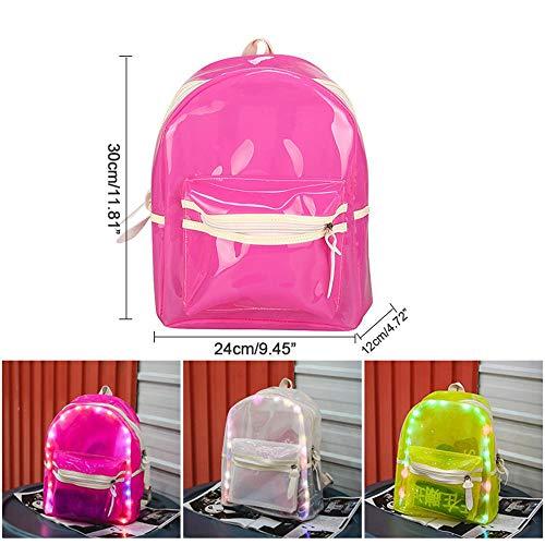 a con scuola Trasparente per sicurezza Multipockets giorno Pvc la zaino libro studenti trasparente led il borsa luce Candy lavoro Glitter Stadio qIPIFgw