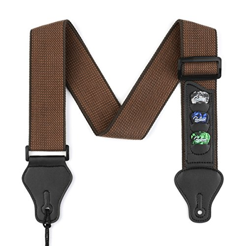 (BestSounds Guitar Strap with 3 Pick Holders 100% Soft Cotton Strap For Bass Electric & Acoustic Guitars (Coffee))