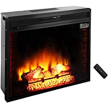 """ROVSUN 33"""" Recessed Electric Fireplace Insert W/Remote Control Timer Adjustable 5200BTU Quartz Space Heater FireBox,3 Realistic Flame Effect,Two Side Built-In Wall Tiles Logs,CSA Listed(Black)"""