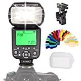 INSEESI IN586EX II Wireless Speedlite HSS 1/8000s ETTL ITTL Large LCD SCreen Display For Nikon and Canon DSLR Cameras +20color Gels Filters +B Type Flash Swivel Bracket as YONGNUO YN565EX YN568EX II