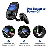 VicTsing Upgraded Bluetooth FM Transmitter for Car, Power Off Switch, Music Player Support USB Flash Drive /Micro SD Card /AUX Input, Wireless Radio Transmitter with 1.44'' Display, Dual USB - Black