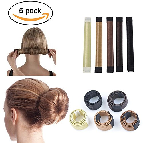 Wisdompark 5pcs Bun Maker DIY Women Girls Perfect Hair Bun Maker French Twist Donut Bun Hairstyle Tool - 5 shades: Blond, Chestnut Color to - Style Shades