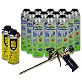 Dow Enerfoam 30oz Gun Dispensed Foam (12) + AWF Pro Foam Gun (1) + Great Stuff Pro foam Gun Cleaner (2)